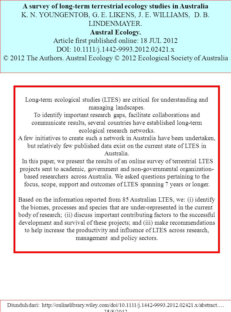 A survey of long-term terrestrial ecology studies in Australia