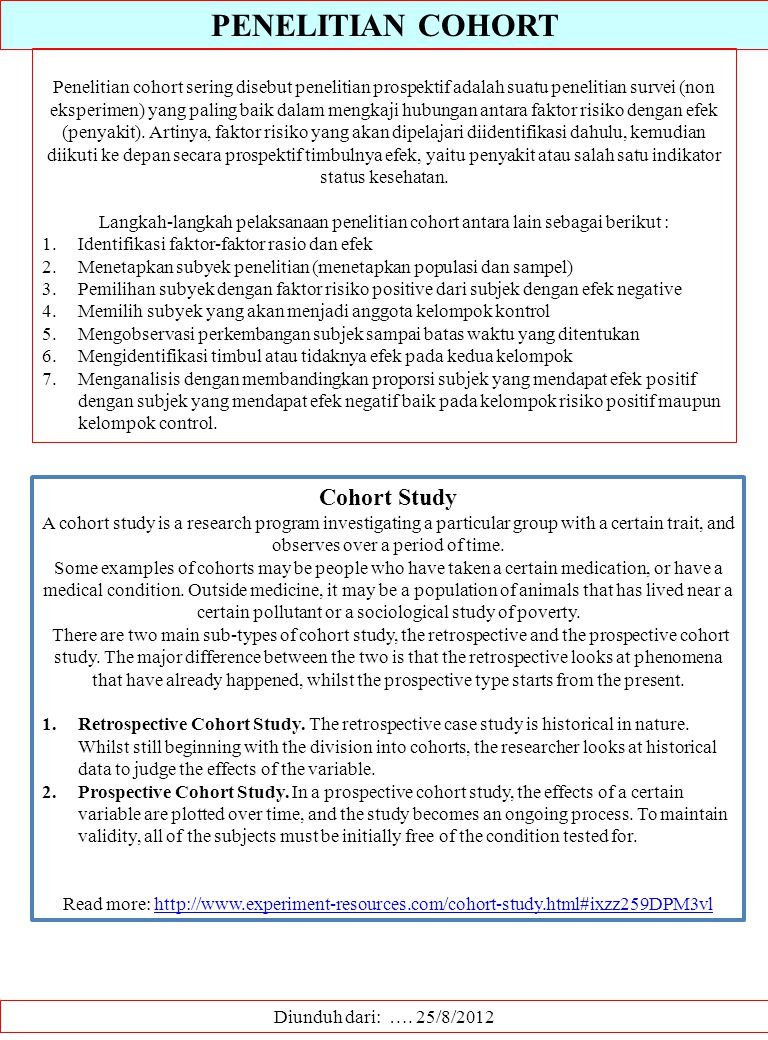 PENELITIAN COHORT Cohort Study