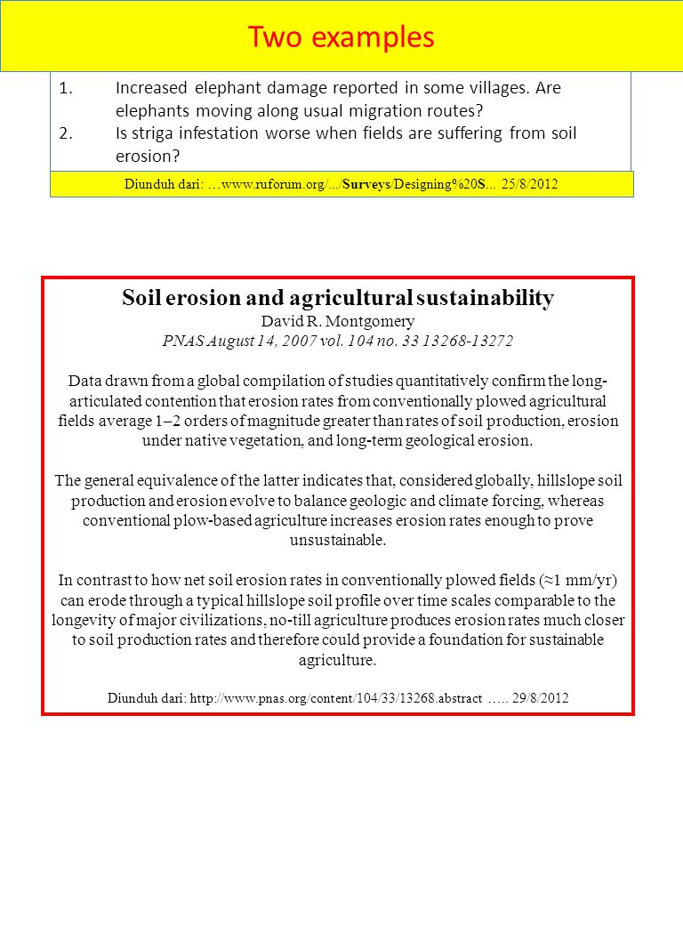 Soil erosion and agricultural sustainability
