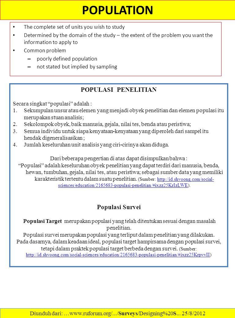 POPULATION POPULASI PENELITIAN