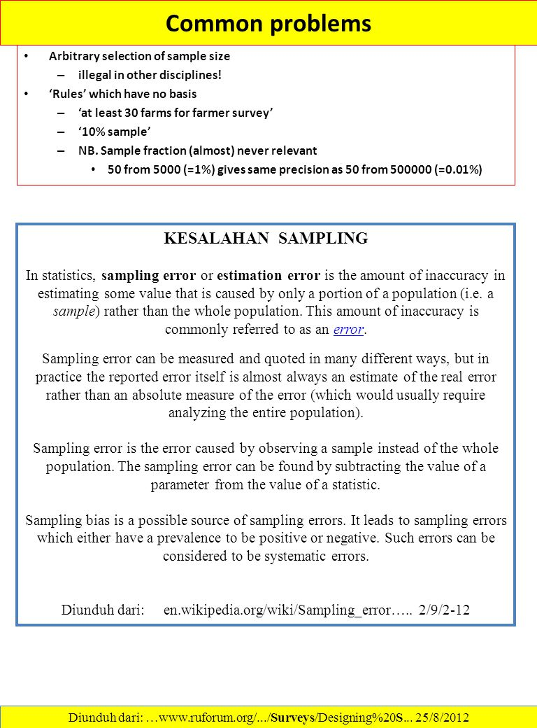 Common problems KESALAHAN SAMPLING