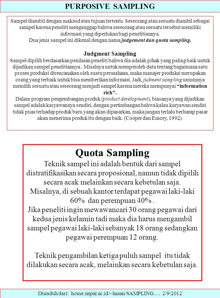 Quota Sampling PURPOSIVE SAMPLING