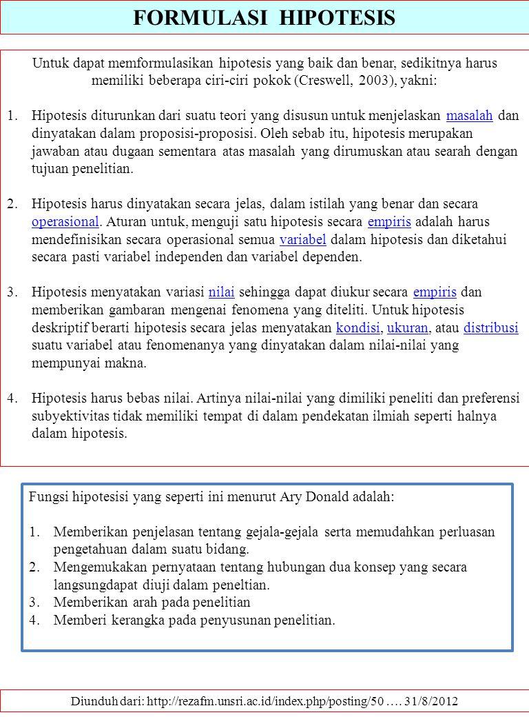 FORMULASI HIPOTESIS