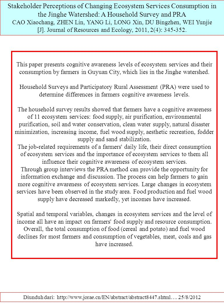 Stakeholder Perceptions of Changing Ecosystem Services Consumption in the Jinghe Watershed: A Household Survey and PRA