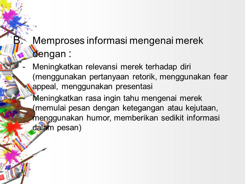 B. Memproses informasi mengenai merek dengan :