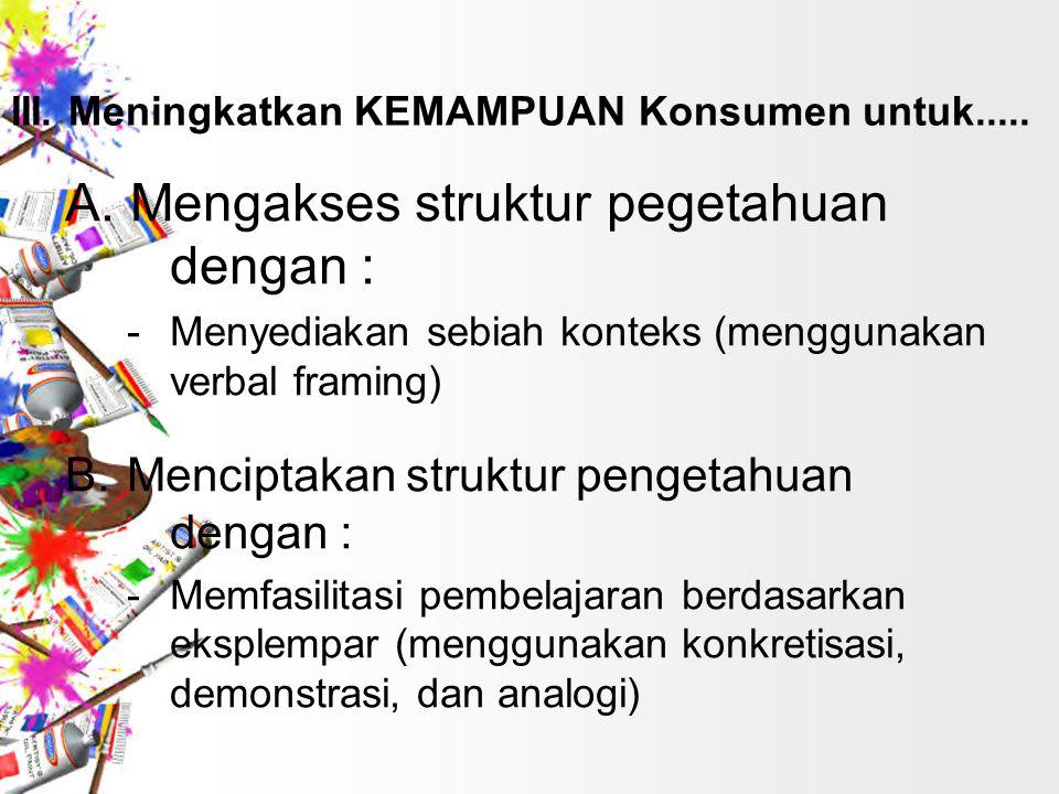 A. Mengakses struktur pegetahuan dengan :