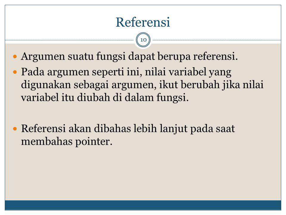 Referensi Argumen suatu fungsi dapat berupa referensi.