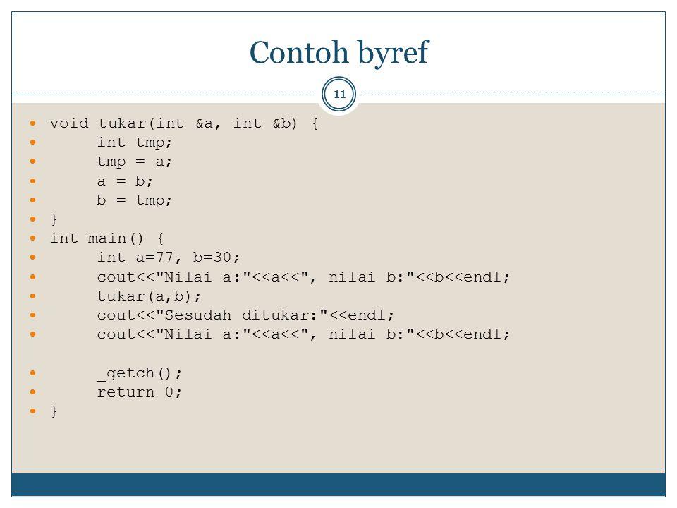 Contoh byref void tukar(int &a, int &b) { int tmp; tmp = a; a = b;