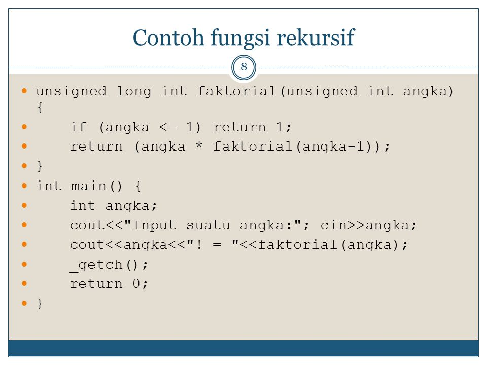 Contoh fungsi rekursif