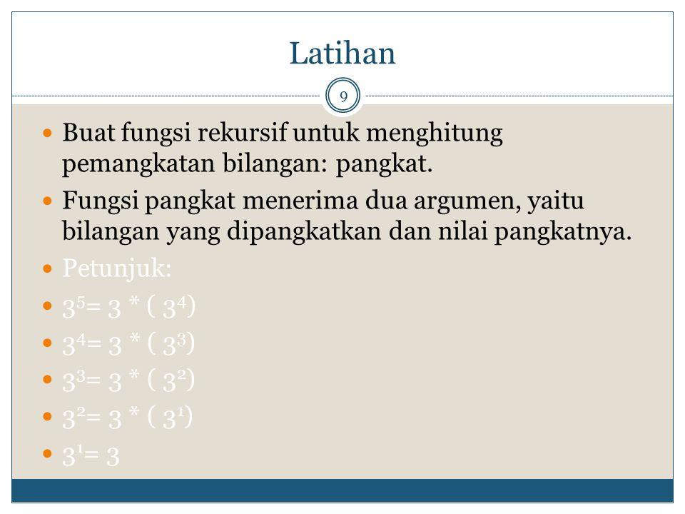 Latihan Buat fungsi rekursif untuk menghitung pemangkatan bilangan: pangkat.