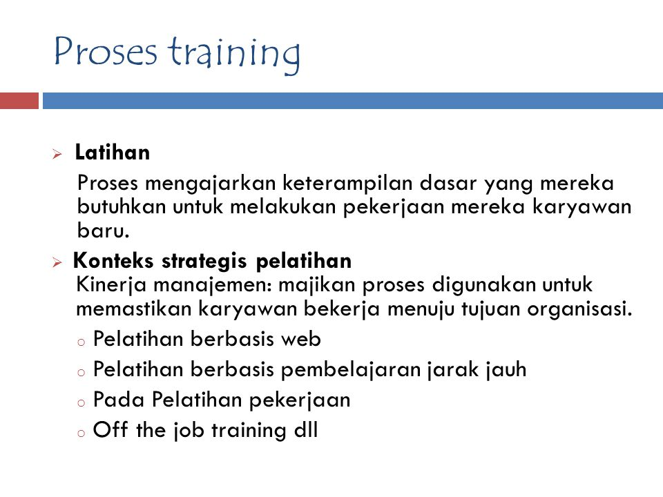 Proses training Latihan