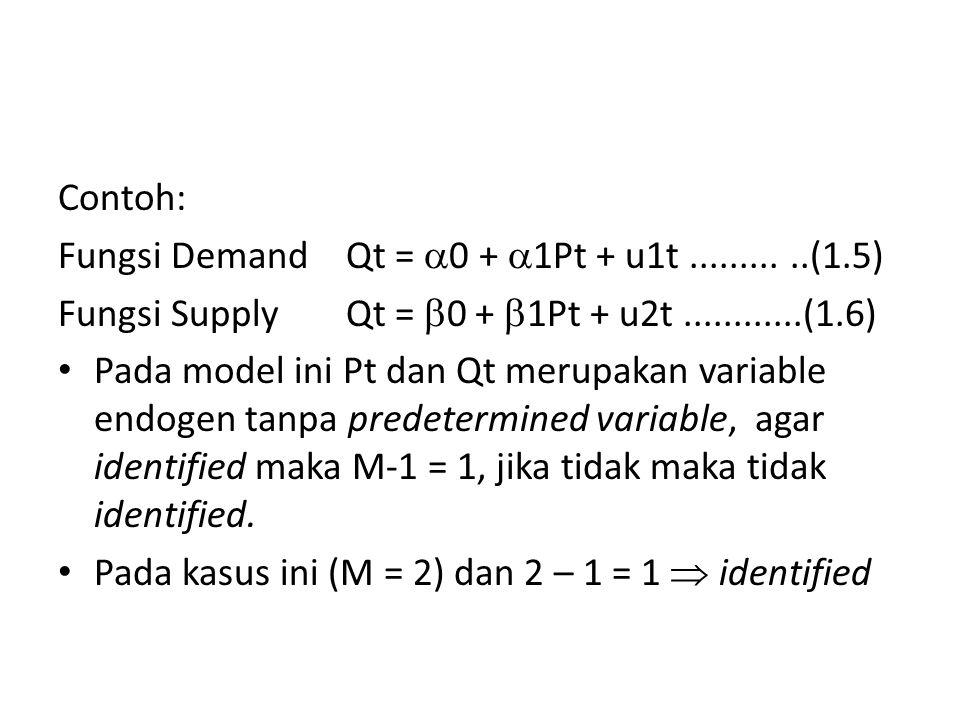Contoh: Fungsi Demand Qt = 0 + 1Pt + u1t ......... ..(1.5) Fungsi Supply Qt = 0 + 1Pt + u2t ............(1.6)