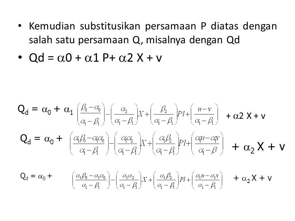 Kemudian substitusikan persamaan P diatas dengan salah satu persamaan Q, misalnya dengan Qd