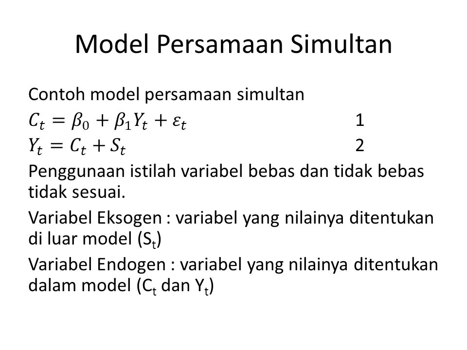 Model Persamaan Simultan