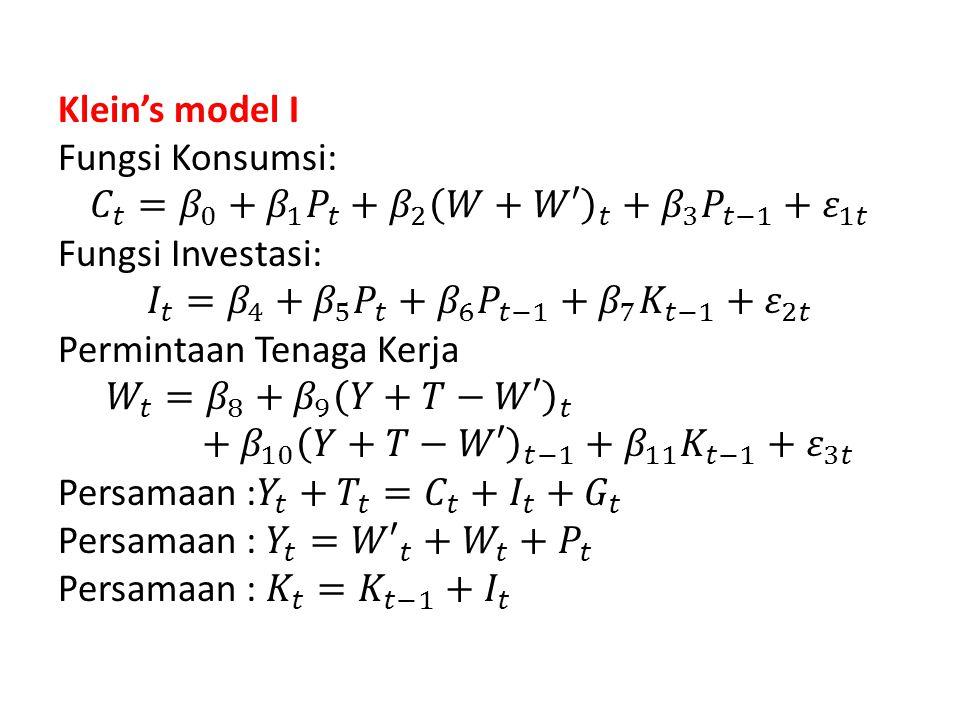 Klein's model I Fungsi Konsumsi: 𝐶 𝑡 = 𝛽 0 + 𝛽 1 𝑃 𝑡 + 𝛽 2 𝑊+𝑊′ 𝑡 + 𝛽 3 𝑃 𝑡−1 + 𝜀 1𝑡 Fungsi Investasi: 𝐼 𝑡 = 𝛽 4 + 𝛽 5 𝑃 𝑡 + 𝛽 6 𝑃 𝑡−1 + 𝛽 7 𝐾 𝑡−1 + 𝜀 2𝑡 Permintaan Tenaga Kerja 𝑊 𝑡 = 𝛽 8 + 𝛽 9 𝑌+𝑇−𝑊′ 𝑡 + 𝛽 10 𝑌+𝑇−𝑊′ 𝑡−1 + 𝛽 11 𝐾 𝑡−1 + 𝜀 3𝑡 Persamaan : 𝑌 𝑡 + 𝑇 𝑡 = 𝐶 𝑡 + 𝐼 𝑡 + 𝐺 𝑡 Persamaan : 𝑌 𝑡 = 𝑊′ 𝑡 + 𝑊 𝑡 + 𝑃 𝑡 Persamaan : 𝐾 𝑡 = 𝐾 𝑡−1 + 𝐼 𝑡