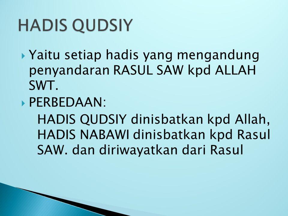 HADIS QUDSIY Yaitu setiap hadis yang mengandung penyandaran RASUL SAW kpd ALLAH SWT. PERBEDAAN: