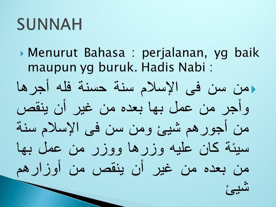SUNNAH Menurut Bahasa : perjalanan, yg baik maupun yg buruk. Hadis Nabi :