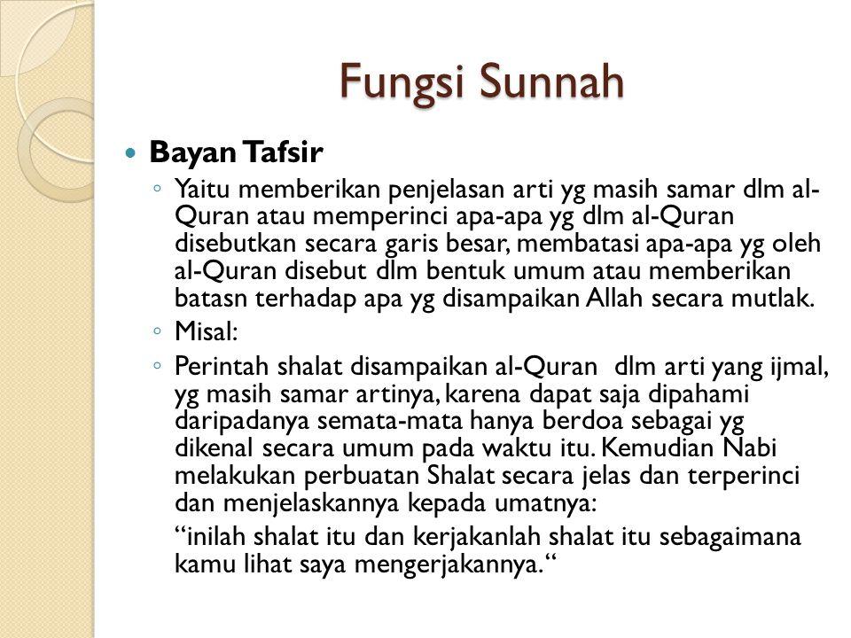 Fungsi Sunnah Bayan Tafsir