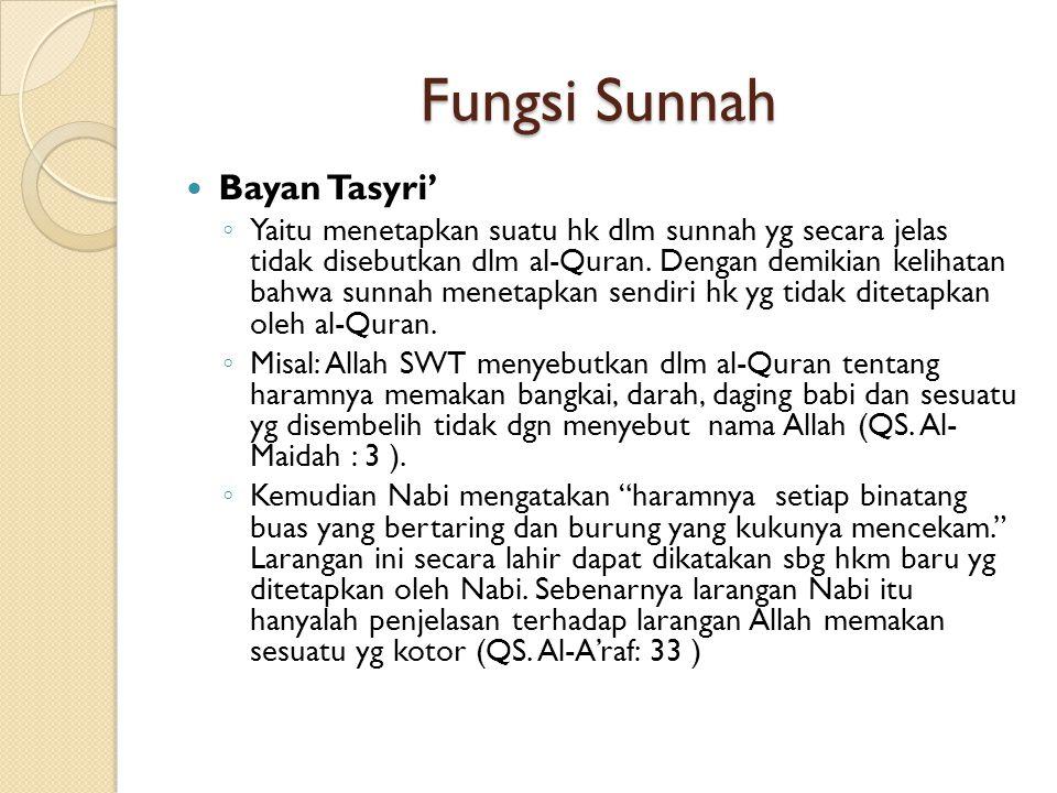 Fungsi Sunnah Bayan Tasyri'