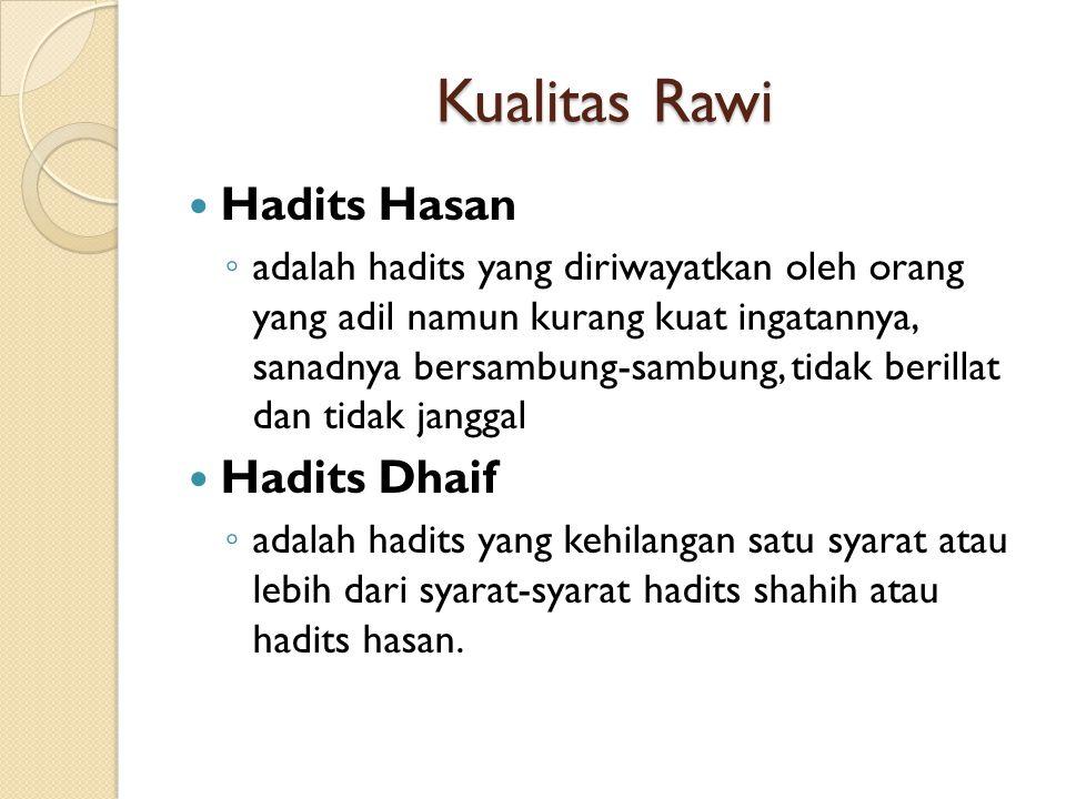 Kualitas Rawi Hadits Hasan Hadits Dhaif