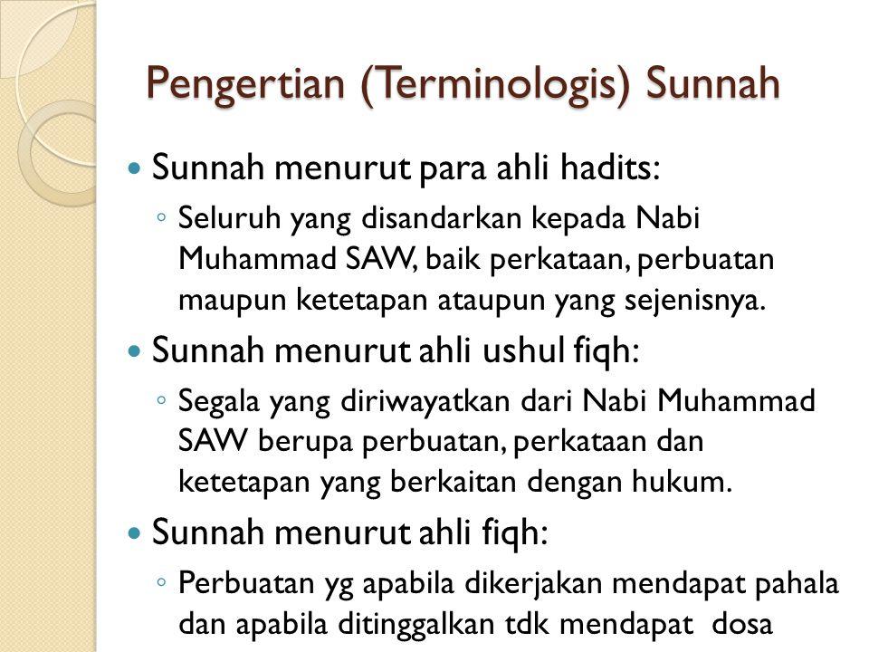 Pengertian (Terminologis) Sunnah