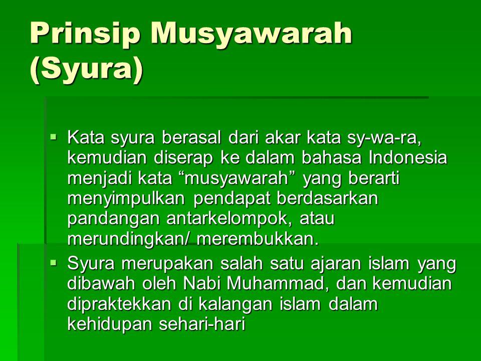 Prinsip Musyawarah (Syura)