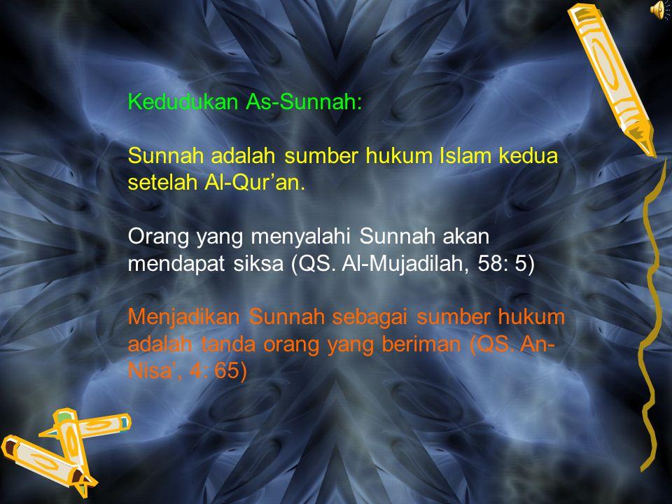 Kedudukan As-Sunnah: Sunnah adalah sumber hukum Islam kedua setelah Al-Qur'an.