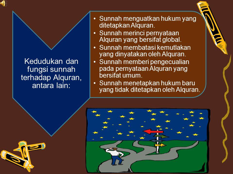 Kedudukan dan fungsi sunnah terhadap Alquran, antara lain: