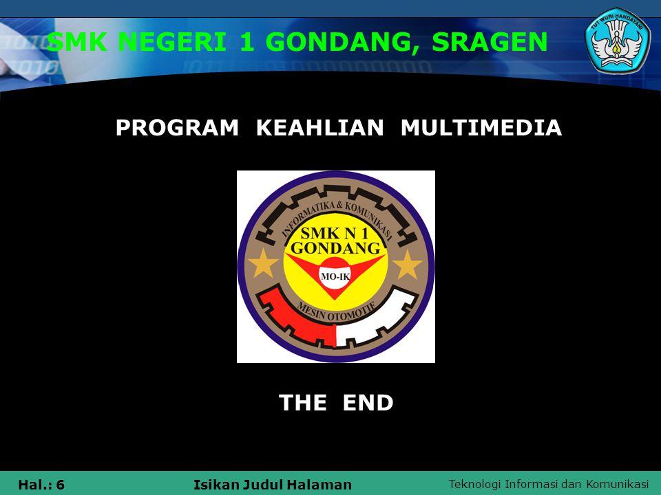 SMK NEGERI 1 GONDANG, SRAGEN PROGRAM KEAHLIAN MULTIMEDIA