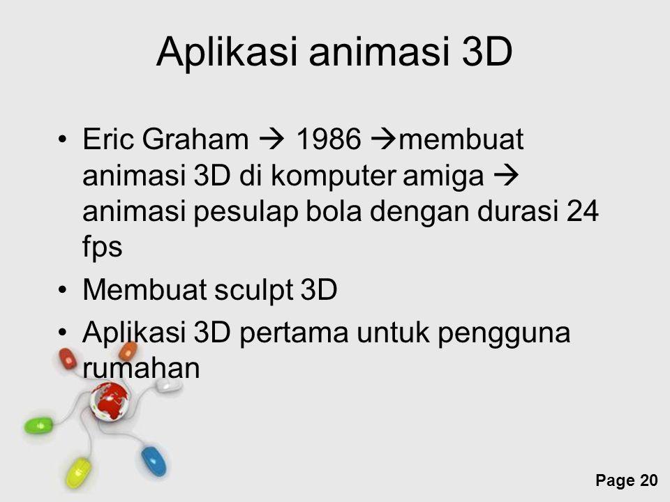 Aplikasi animasi 3D Eric Graham  1986 membuat animasi 3D di komputer amiga  animasi pesulap bola dengan durasi 24 fps.