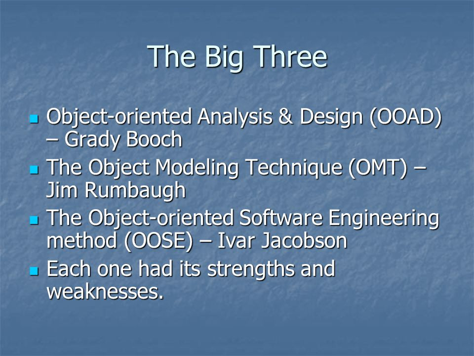 The Big Three Object-oriented Analysis & Design (OOAD) – Grady Booch