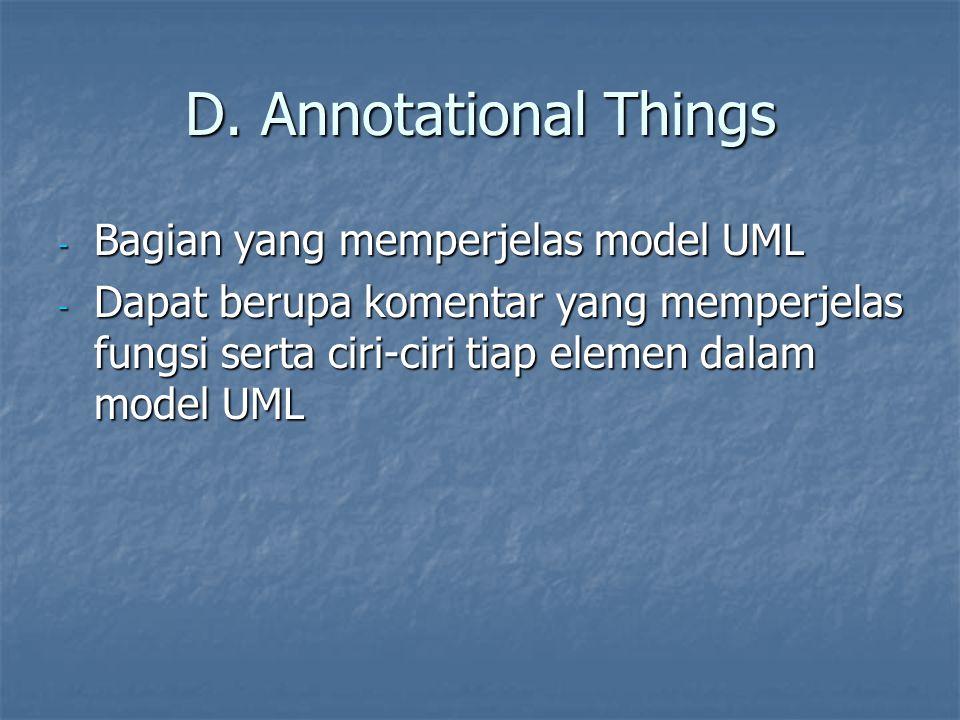 D. Annotational Things Bagian yang memperjelas model UML