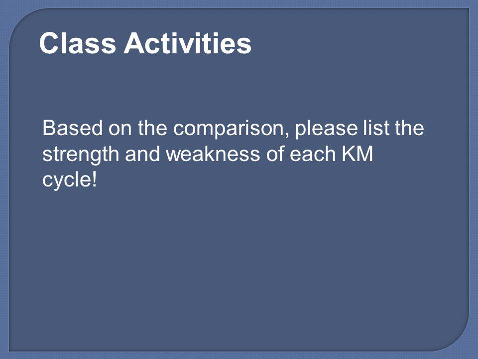 Class Activities Based on the comparison, please list the strength and weakness of each KM cycle!