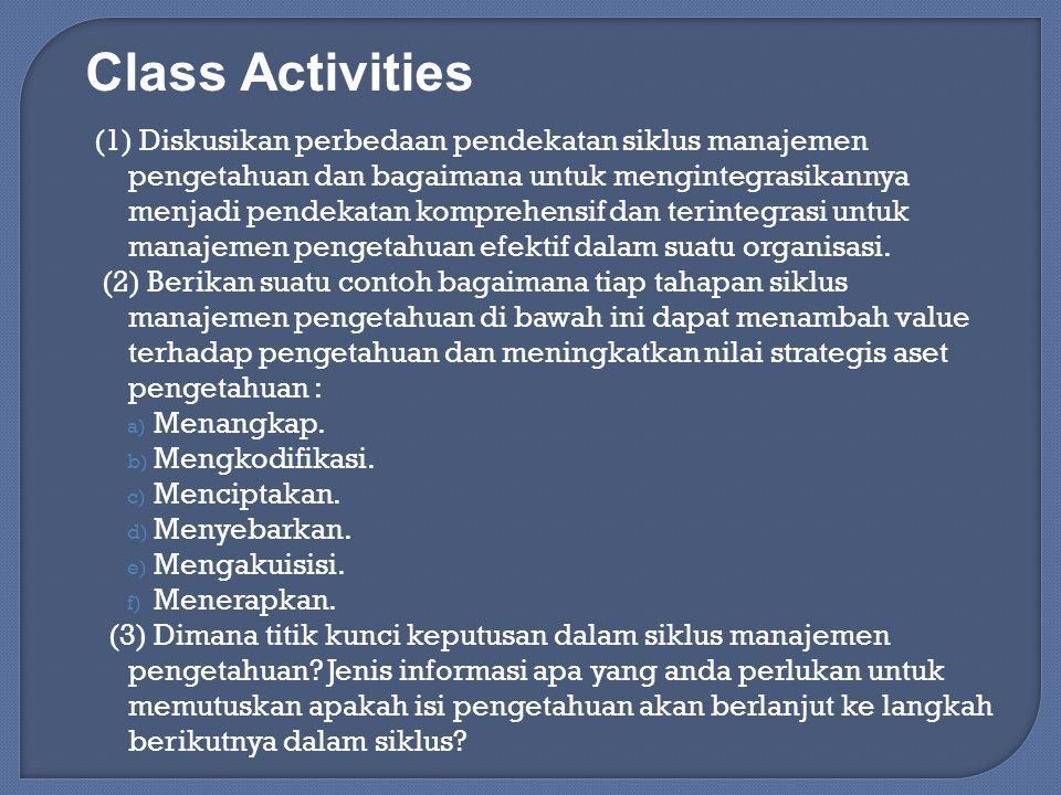 Class Activities