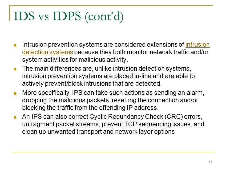IDS vs IDPS (cont'd)