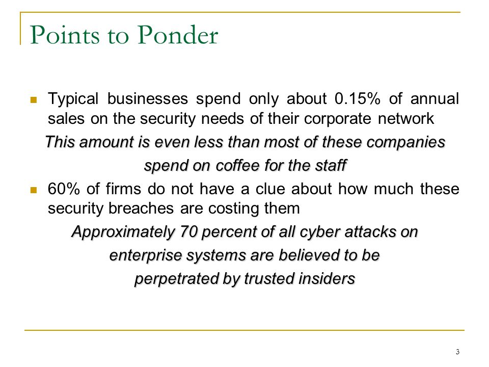 Points to Ponder Typical businesses spend only about 0.15% of annual sales on the security needs of their corporate network.