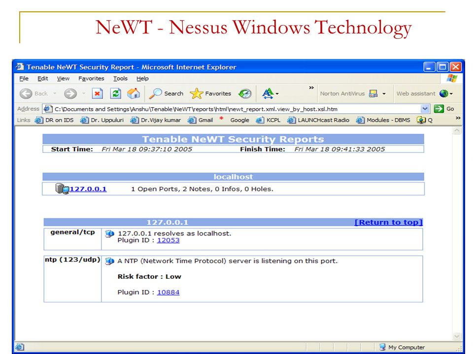 NeWT - Nessus Windows Technology