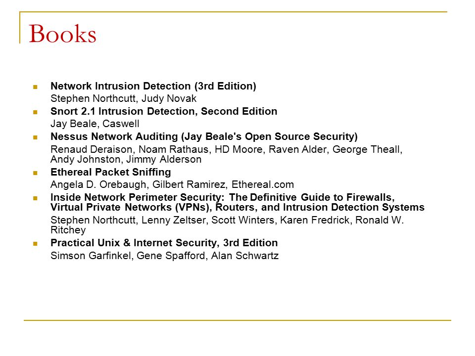 Books Network Intrusion Detection (3rd Edition)