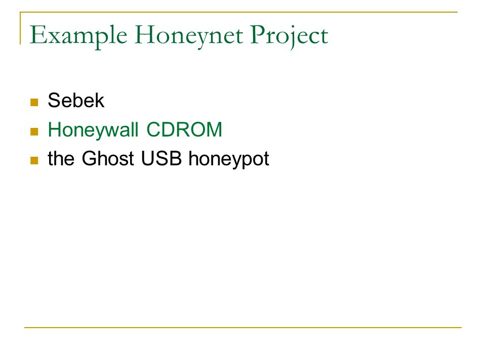 Example Honeynet Project