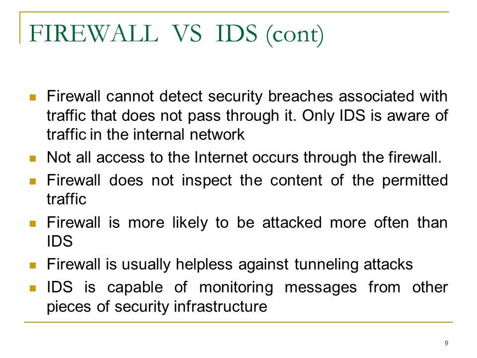 FIREWALL VS IDS (cont)
