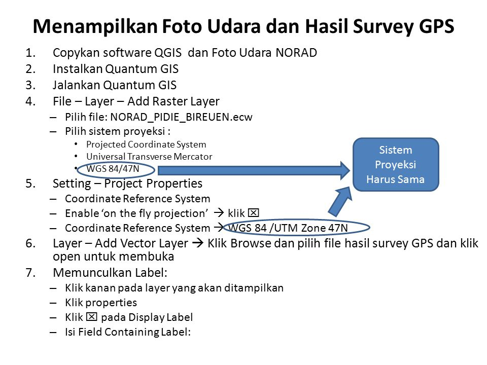 Menampilkan Foto Udara dan Hasil Survey GPS