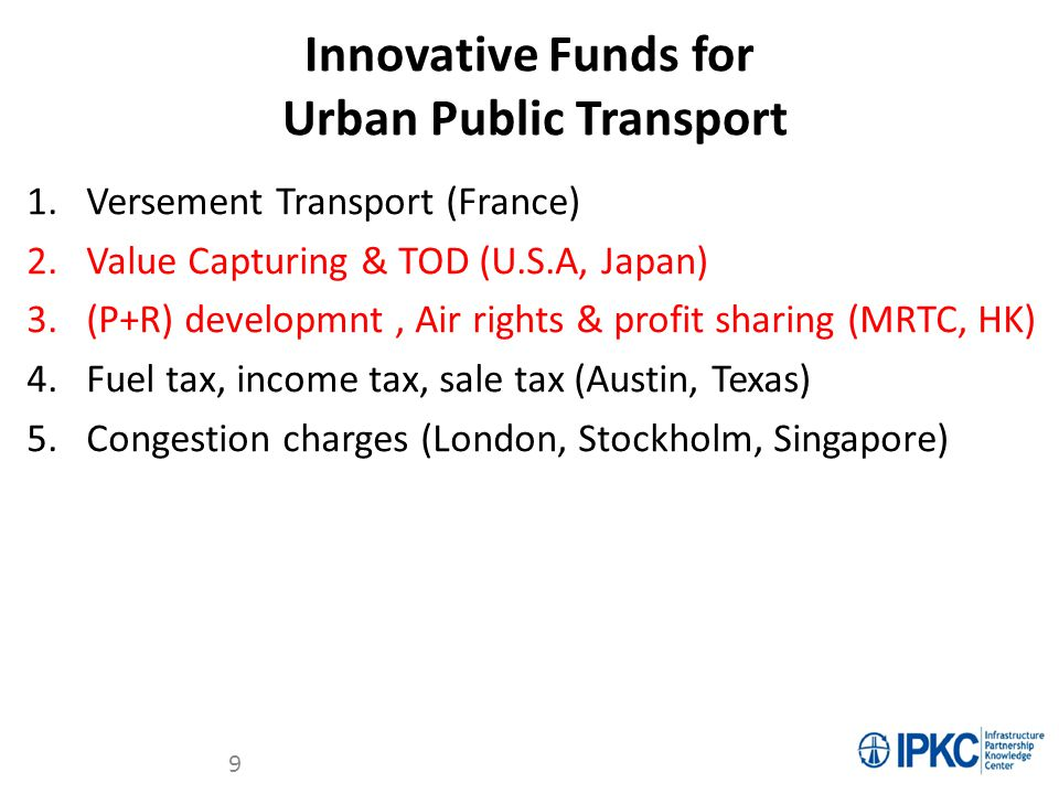 Innovative Funds for Urban Public Transport