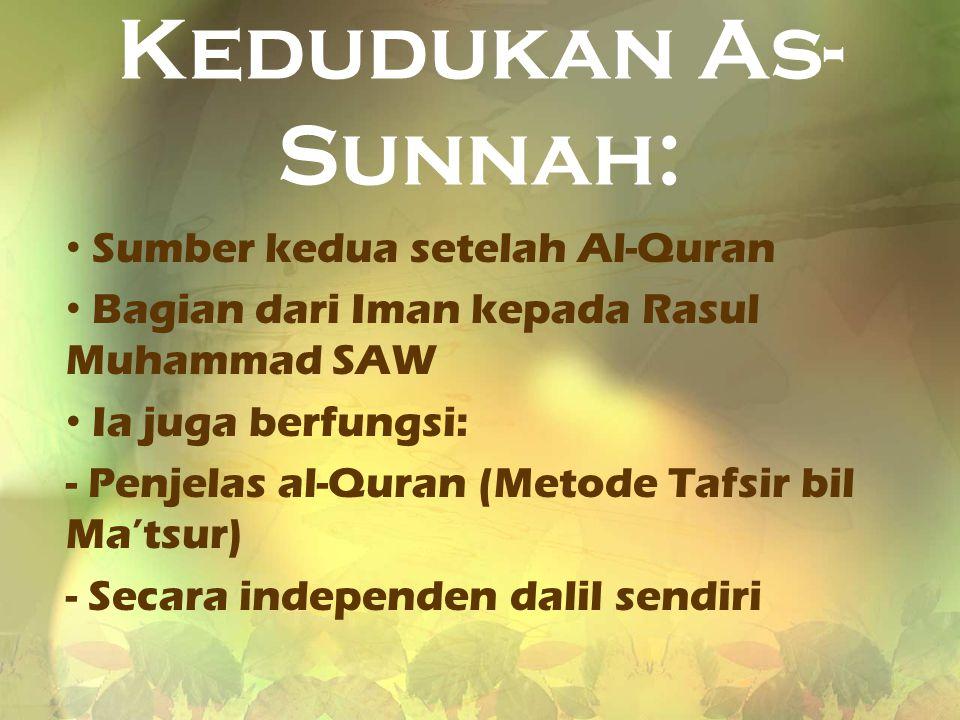 Kedudukan As-Sunnah: Sumber kedua setelah Al-Quran