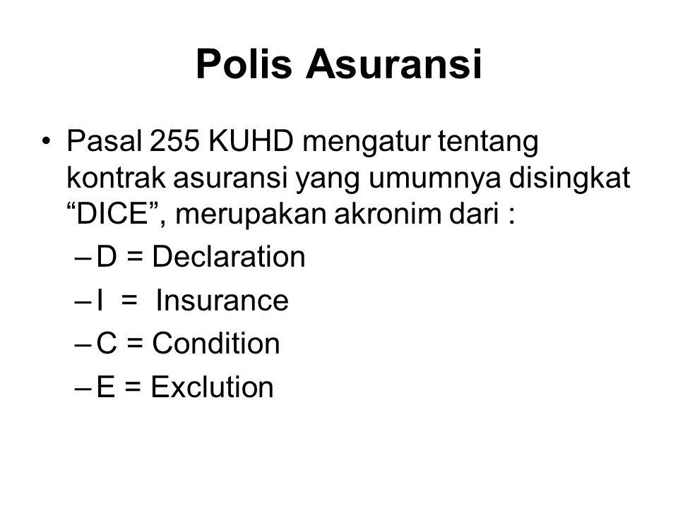 Polis Asuransi Pasal 255 KUHD mengatur tentang kontrak asuransi yang umumnya disingkat DICE , merupakan akronim dari :