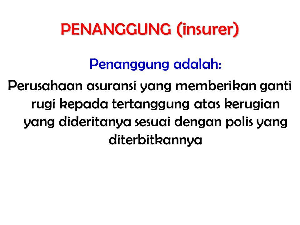 PENANGGUNG (insurer) Penanggung adalah: