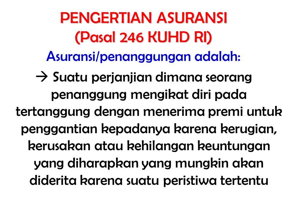 PENGERTIAN ASURANSI (Pasal 246 KUHD RI)