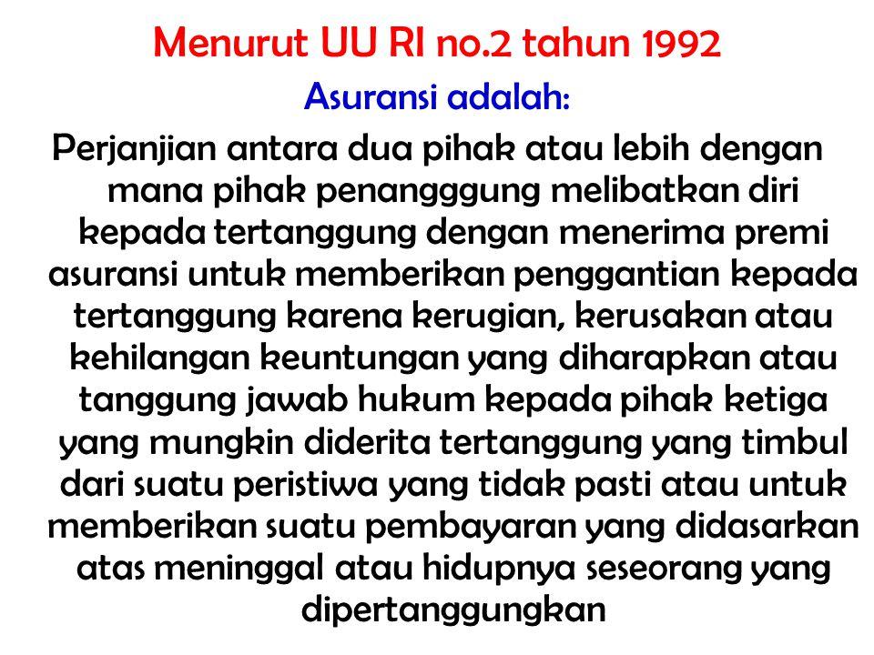 Menurut UU RI no.2 tahun 1992 Asuransi adalah: