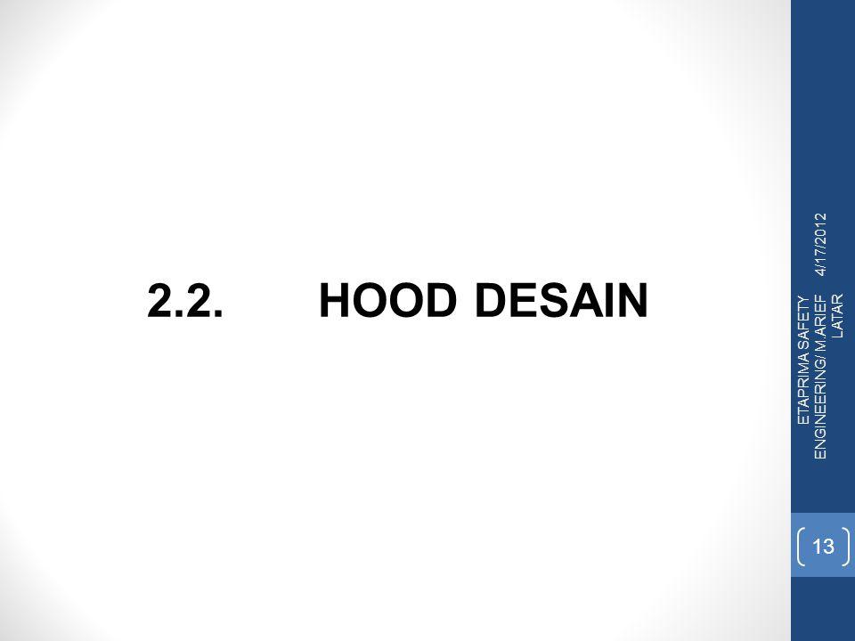 4/17/2012 2.2. HOOD DESAIN ETAPRIMA SAFETY ENGINEERING/ M.ARIEF LATAR