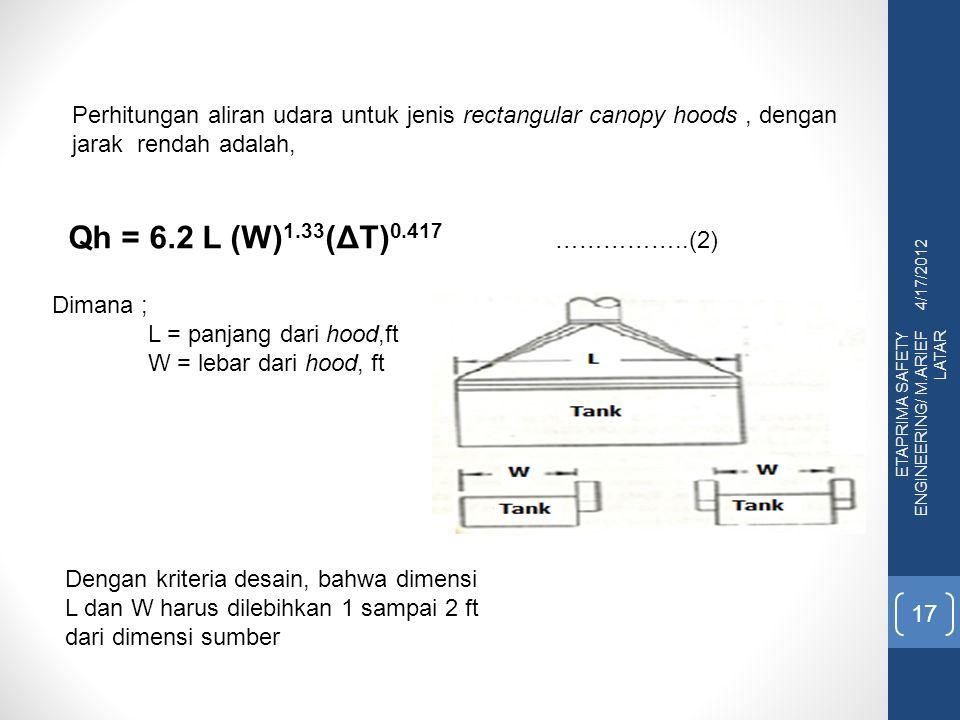 Perhitungan aliran udara untuk jenis rectangular canopy hoods , dengan jarak rendah adalah,