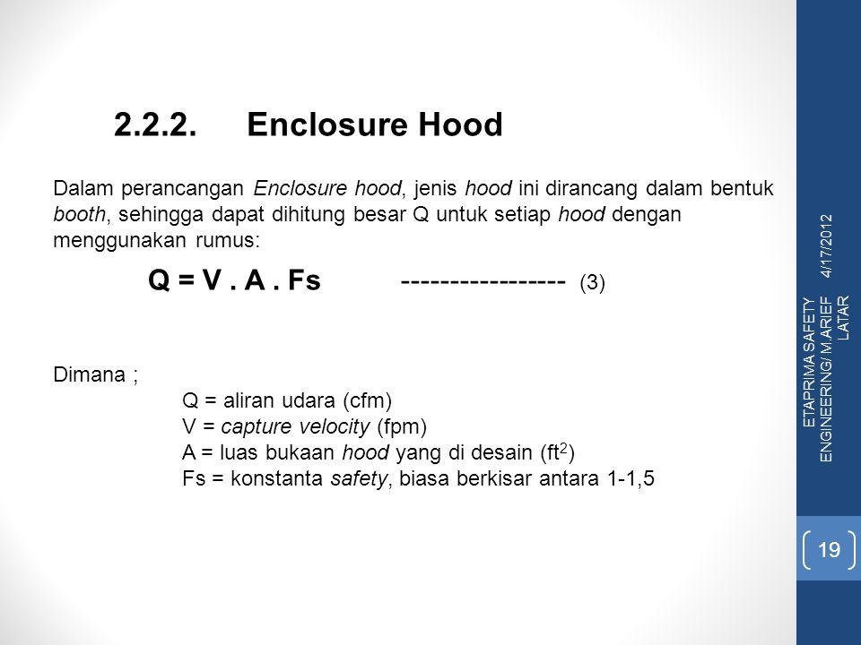 2.2.2. Enclosure Hood Q = V . A . Fs ----------------- (3)